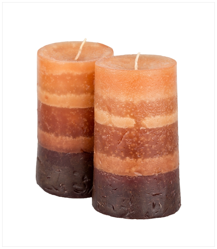 Amber Pillar Candle Duo