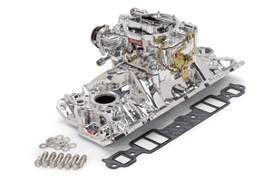 EDELBROCK PERFORMER EPS MANIFOLD AND PERFORMER SERIES 600 CFM CARB FOR 1957-86 S/B CHEVY - ENDURASHINE FINISH - 20214