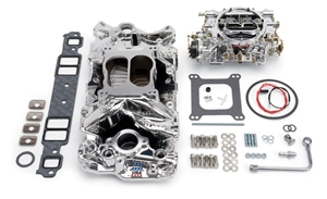 EDELBROCK PERFORMER AIR-GAP MANIFOLD AND PERFORMER SERIES 600 CFM CARB KIT FOR 1957-86 S/B CHEVY - ENDURASHINE FINISH - 20224