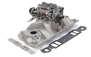 EDELBROCK PERFORMER RPM MANIFOLD AND THUNDER SERIES AVS 800 CFM CARB FOR 1957-86 S/B CHEVY - SATIN FINISH - 2023
