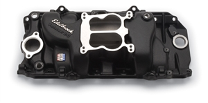 EDELBROCK PERFORMER 2-0 (NON-EGR) MANIFOLD FOR 296-502 B/B CHEVY V8- BLACK POWDER-COATED FINISH  - 21613