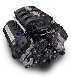 EDELBROCK SUPERCHARGED 5.0L COYOTE CRATE ENGINE (700 HP & 606 TQ) WITH ELECTRONICS AND ACCESSORIES - BLACK FINISH  - 46770