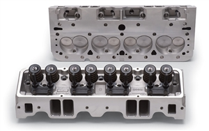 EDELBROCK E-SERIES E-210 CYLINDER HEAD FOR S/B CHEVROLET- HYDRAULIC FLAT TAPPET CAM APPS- (COMPLETE, PAIR) - 5085