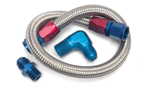 "EDELBROCK 22"" BRAIDED FUEL LINE KIT (FOR SMALL-BLOCK APPLICATIONS) - 8122"