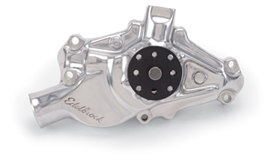 EDELBROCK HIGH PERFORMANCE SHORT WATER PUMP FOR S/B CHEVROLET- POLISHED FINISH  - 8820