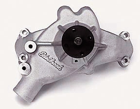 EDELBROCK HIGH PERFORMANCE REVERSE ROTATION LONG WATER PUMP FOR B/B CHEVY - SATIN FINISH  - 8853