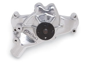 EDELBROCK HIGH PERFORMANCE REVERSE ROTATION LONG WATER PUMP FOR B/B CHEVY - POLISHED FINISH  - 8863