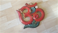 Hand Painted Wooden 'Om' Symbol Wall Plaque color