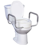 "Drive Medical Premium 3.5"" Raised Toilet Seat with Removable Arms Elongated Bowl - 300-lb Weight Capacity"