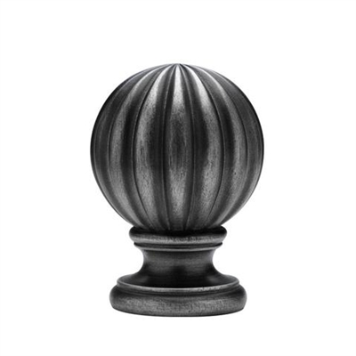 "2¼"" A/P Reeded Ball Finial W/Collar"