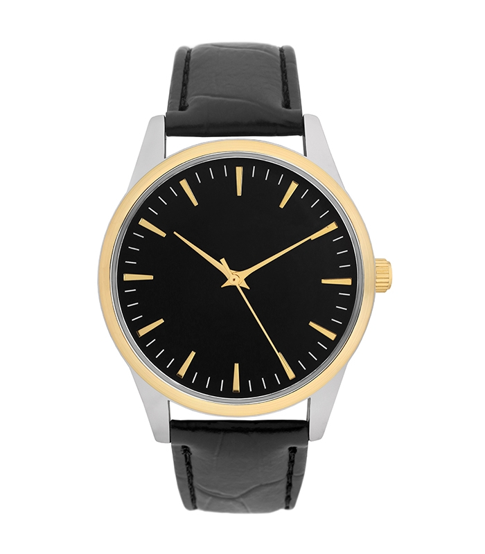 Black Leather Band with Gold/Silver Face
