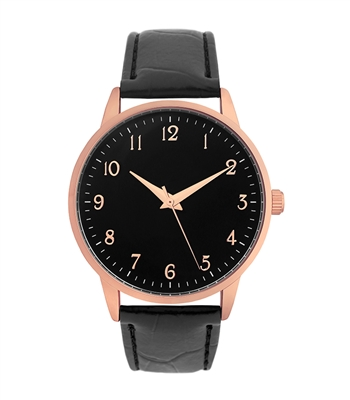Black Leather Band with Rose Gold Face