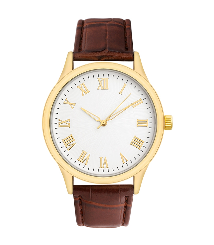 Tan Leather Band with Gold Face