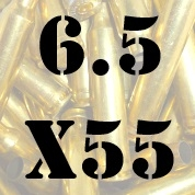 6.5x55 once fired brass cases for reloading