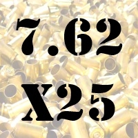 7.62x25 Tokarev once fired brass cases for reloading