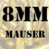 8mm Mauser once fired brass cases for reloading