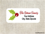 Personalized Christmas Address Labels Mistletoe Holly