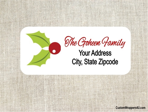 christmas address label mistletoe
