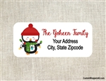 Personalized Christmas Address Labels Penguin Lights