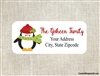 Personalized Christmas Address Labels Penguin Scarf