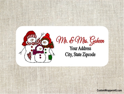 christmas address label snowman family