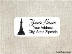 Address Label - Pink Poodle Eiffel Tower