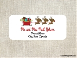 Personalized Christmas Address Labels Reindeer Pulling Sleigh