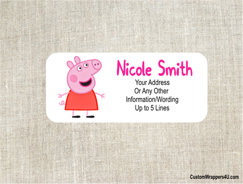 birthday address label peppa pig