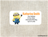 Despicable Me Minion address labels birthday party