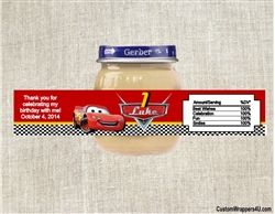 Cars Lightning McQueen baby food jar labels, Cars birthday party favors