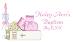 Baptism Gift / Favor Tag - Bible & Booties