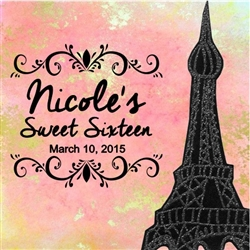 Sweet Sixteen Goodie Bag Label - Paris Eiffel Tower