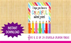 Back to School Crayon Box Label Colored Pencils