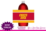 Kansas City Chiefs soda bottle label instant download football party