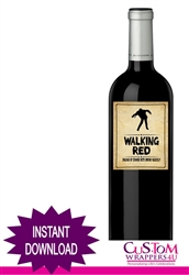 Halloween wine bottle label instant download Walking Red Wine