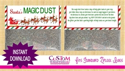 Santa's Magic Dust Christmas Treat Bag Topper Instant Download
