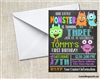 Little monsters birthday invitation