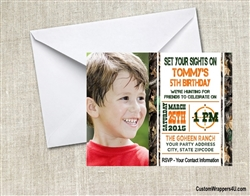 Hunting birthday party invitation with photo