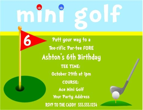 Birthday invitation mini golf filmwisefo