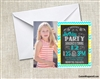 Chevron birthday invitation with photo