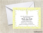 Baptism / First Communion Invitation - Cross & Yellow Daisies
