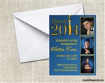 Graduation Announcement / Invitation - Class of 3 Photos (colors can be changed)