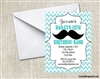 mustache chevron birthday party invitation