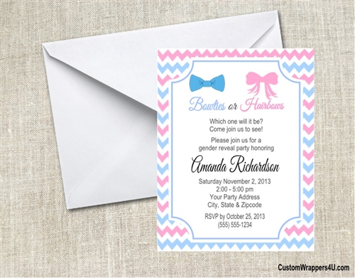 Baby shower gender reveal invitation bowties or bows filmwisefo