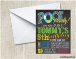 pool party chalkboard invitation