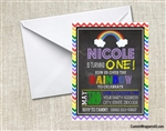 rainbow chalkboard birthday party invitation