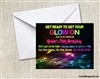 glow neon black light party invitation