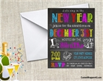 New Year's Eve Invitation - Chalkboard Colorful