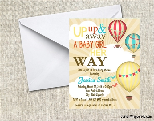 Baby Shower Invitation Hot Air Balloons
