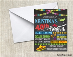 Adult Birthday Invitation - Cinco de Mayo Fiesta Chalkboard